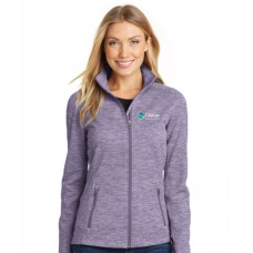 Port Authority® Ladies Digi Stripe Fleece Jacket Purple
