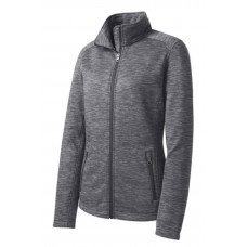 Port Authority® Ladies Digi Stripe Fleece Jacket Black