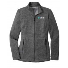 Port Authority® Ladies Collective Striated Fleece Jacket Gray with embroidery