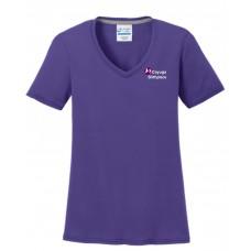 Port & Company® Ladies Performance Blend V-Neck Tee Purple *Sale Item*